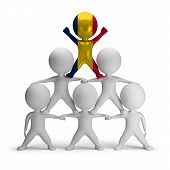 picture of human pyramid  - 3d small people standing on each other in the form of a pyramid with the top leader Chad - JPG
