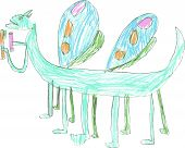 pic of toothpaste  - Strange dragon butterfly with twelve paws and four wings holding toothpaste and toothbrush - JPG