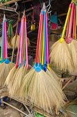 picture of dry grass  - Multi colors dry grass broom hand made from nature in Thailand - JPG