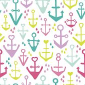 picture of anchor  - Seamless girls kids colorful anchor hello sailor marine theme illustration background pattern in vector - JPG
