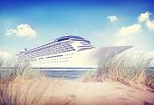 picture of passenger ship  - Yacht Cruise Ship Sea Ocean Tropical Scenic Concept - JPG