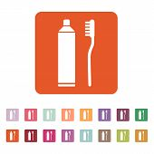picture of toothpaste  - The toothpaste and toothbrush icon - JPG