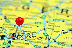 pic of frankfurt am main  - Photo of pinned Frankfurt am Main on a map of europe - JPG
