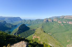 picture of three sisters  - Blyde River Canyon and The Three Rondavels (Three Sisters) in Mpumalanga South Africa. The Blyde River Canyon is the third largest canyon worldwide ** Note: Soft Focus at 100%, best at smaller sizes - JPG