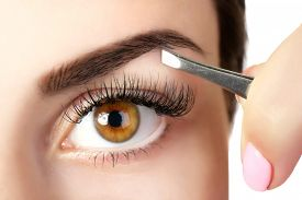 foto of eyebrows  - Young woman plucking eyebrows with tweezers close up - JPG