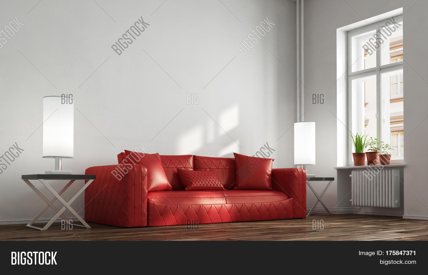 Red Leather Sofa In Living Room In Front Of A Wall 3d