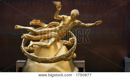 Gilded Prometheus Statue