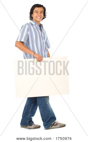 Friendly Student Carrying An Add Board