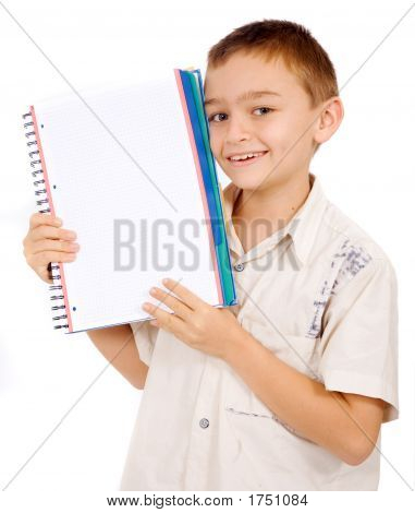 School Boy Student With A Notebook