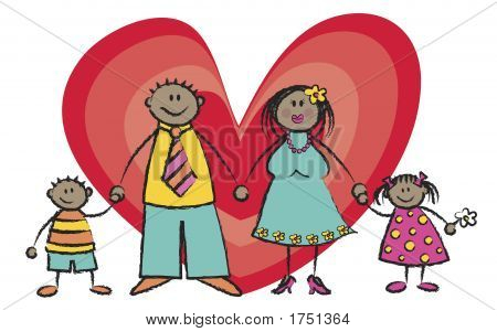 Happy Family Card Dark Skin Tone