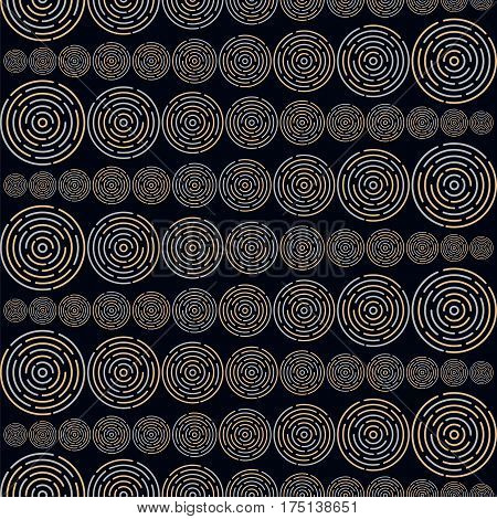 Seamless pattern with different size circles in geometric order forming horizontal lines on dark background. Stock vector illustration for wallpaper backdrop textile fabric.