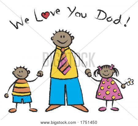 Nós te amamos Papai tom de pele escura