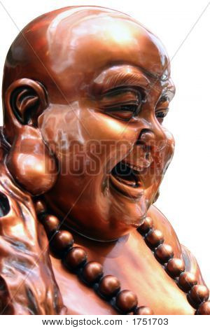 Isolated Closeup Of A Laughing Buddha Statue