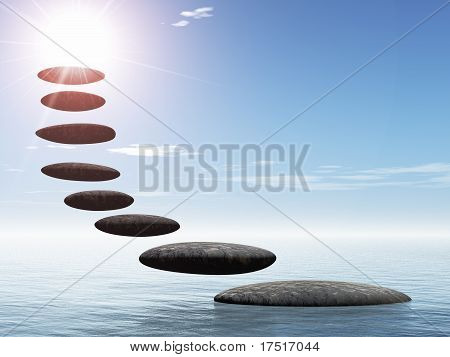 Path form zen stone to sun