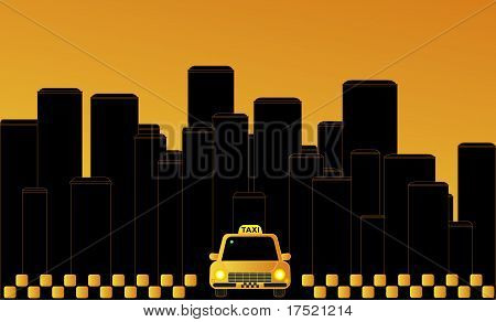 Night taxi in the city