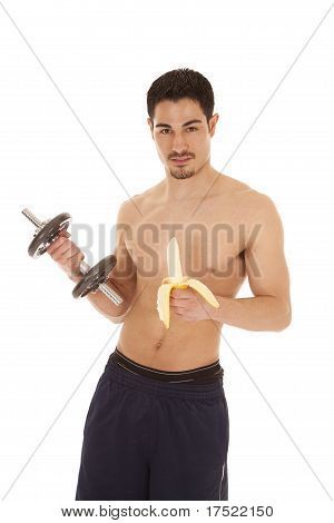 Man With Weight And Banana
