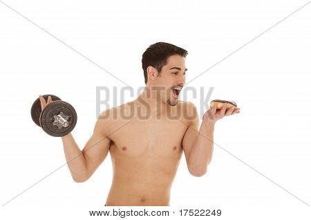 Man With Weight And Donut