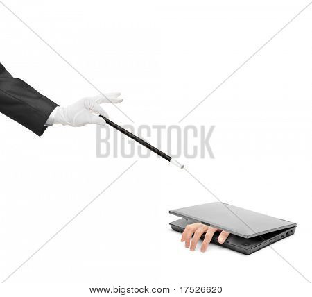 A hand reaching out from a laptop and hand holding a magic wand isolated on white background