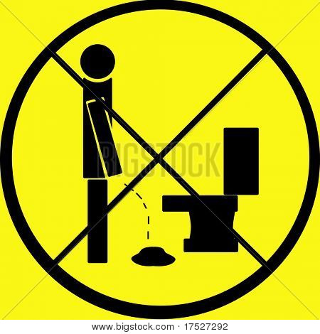 Don't pee on floor sign.