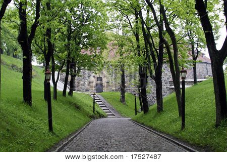 An old cobblestone road road at akershus festning, Oslo Norway