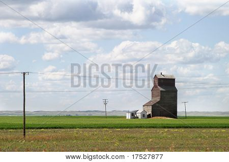 Prairie landscape with an old grain elevator