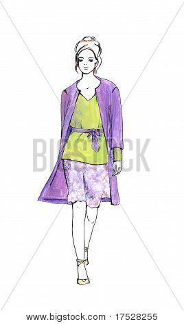 Woman In Summer Suit Isolated On White. Fashion Sketch