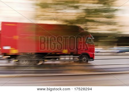 A transport truck blur abstract showing speed