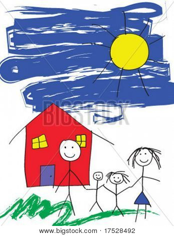 A vector child like drawing of a happy family in front of their house and a blue sky