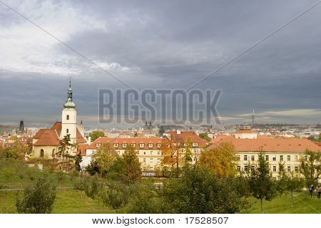 A prague scenic, view from Mala Strana, a park on the west side of the old town.