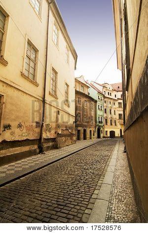 A quaint tiny alley (Seminarska) in Prague, Czech Republic