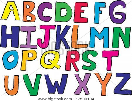 Child like drawn alphabet vector