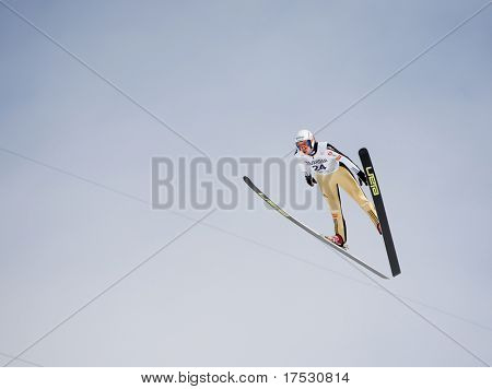 VIKERSUND, NORWAY - MARCH 15: Primoz Pikl of Slovania competes in the FIS World Cup Ski Jumping Competition on March 15, 2009 in Norway.