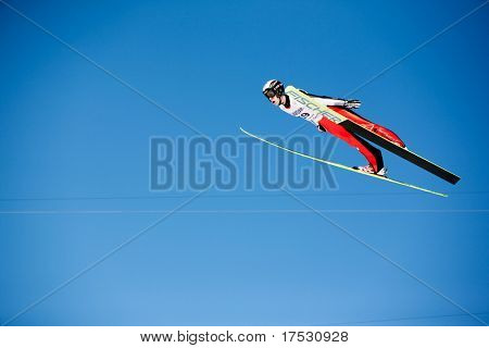 VIKERSUND, NORWAY - MARCH 15: Roman Koudelka of Czech competes in the FIS World Cup Ski Jumping Competition on March 15, 2009 in Norway.