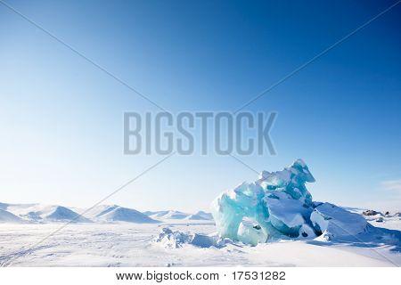 A glacier on the coast of Spitsbergen, Svalbard, Norway.