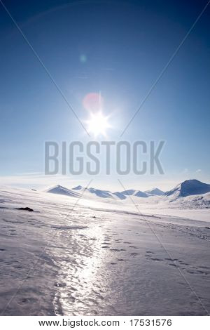 A winter landscape on Spitsbergen Island, Svalbard, Norway