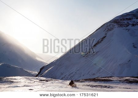 A dramatic mountain landscape in winter  - Spitsbergen, Svalbard, Norway