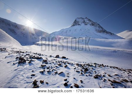 Mountain landscape on the island of Spitsbergen, Svalbard, Norway