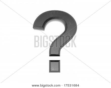 3D Metal Question Mark , On A White Isolated Background.
