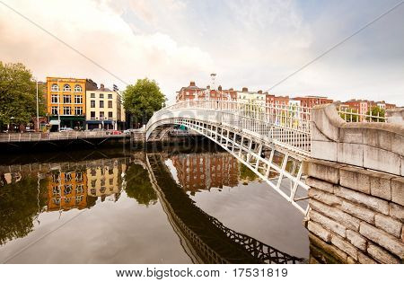 A famous toursit attraction in Dublin, Ireland, Ha'penny Bridge.