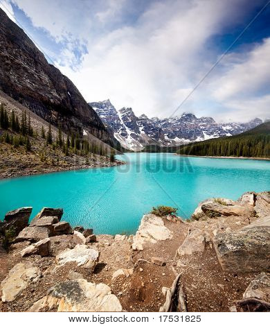 Landscape of Moraine Lake, Banff National Park, Alberta, Canada
