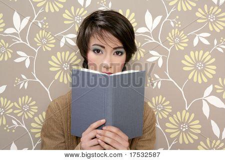 book reading shy woman retro 60s vintage wallpaper