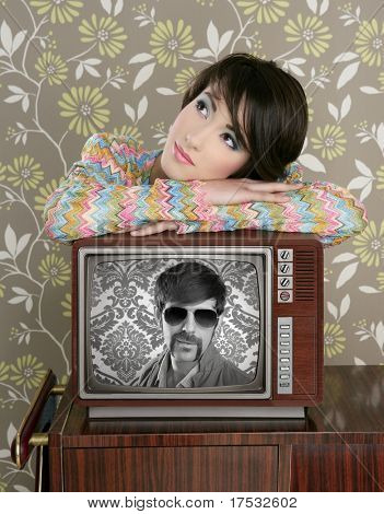 retro woman in love with tv nerd mustache hero vintage 60s wallpaper