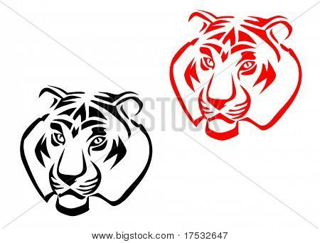 Tiger mascots isolated on white for tattoo design. Vector version also available in gallery