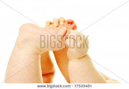 newborn baby feet and hands isolated on white