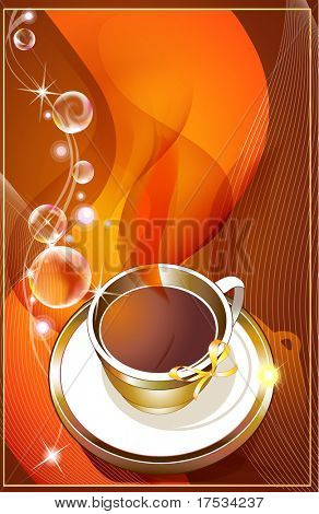 Cup of coffee with abstract design elements
