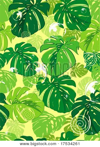 Editable vector seamless repeating leaf background texture, floral background illustration