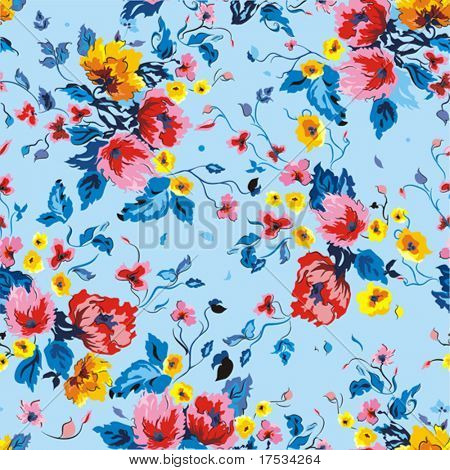 Stylish beautiful bright floral pattern, vector elegance background
