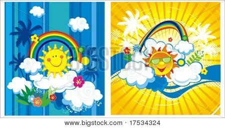 Summer vector illustration with palm trees, sun, clouds and rainbow. Childrens' Background