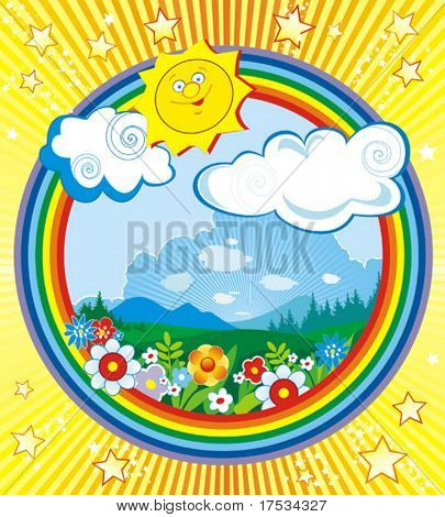 Solar vector illustration of a landscape with colorful flowers and trees in the summertime