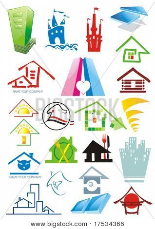 House vector Icons for Web. Construction or Real Estate concept. Abstract color element set of corporate templates. Just place your own brand name. Collection 3.